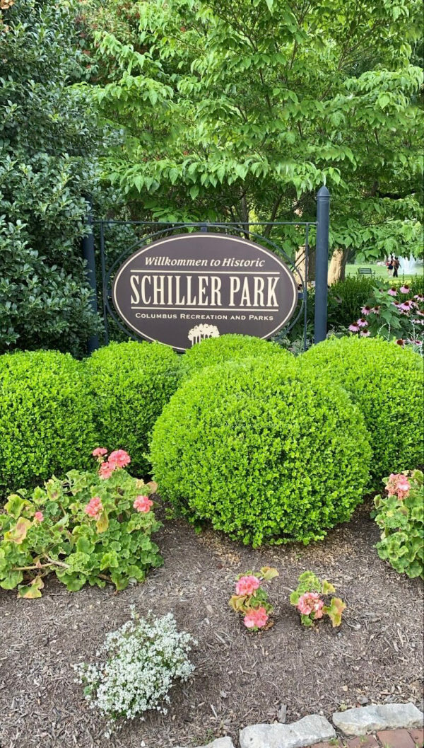 48 Hours in ColumbusOhio: a Complete Travel Guide | Greta Hollar | Greta Hollar | Columbus Ohio Travel Guide by popular Nashville travel blogger, Greta Hollar: image of the Shciller Park sign.