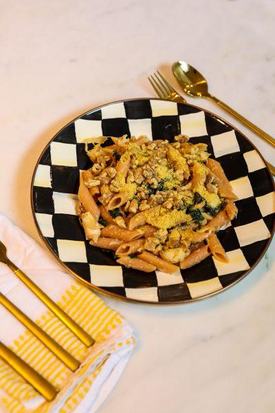 Barilla Red Lentil Pasta with Lemon Garlic Kale | Greta Hollar